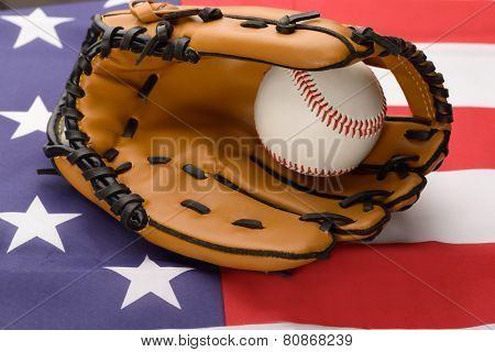 Baseball Glove And Ball On Usa Flag