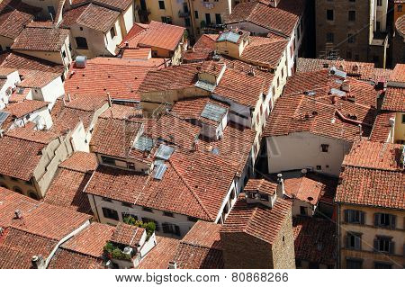 Roofs from top view of Europe