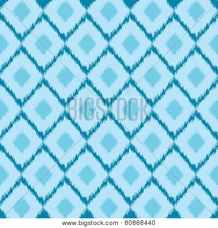 Ikat ethnic pattern in blue colors