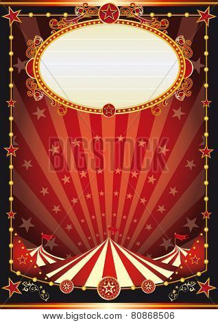 red and black circus background. A vintage circus background with sunbeams and stars for your entertainment