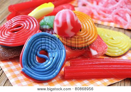 closeup of a pile of different candies
