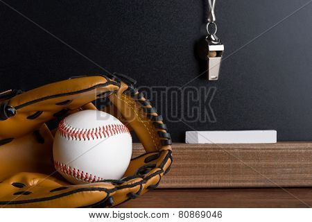 Whistle; Chalk And Baseball Glove With Ball Near Blackboard