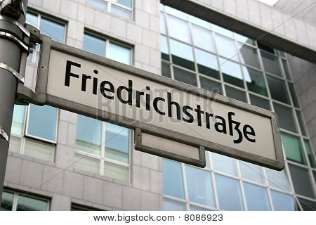 Sign of famous street Friedrichstrasse in Berlin, Germany