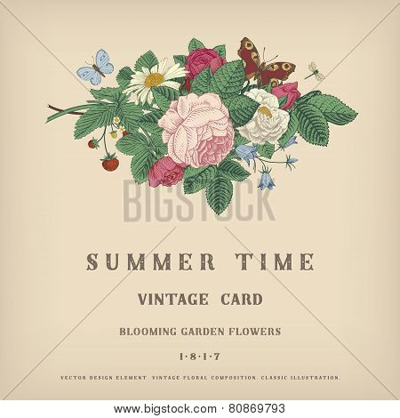 Summer vector vintage card