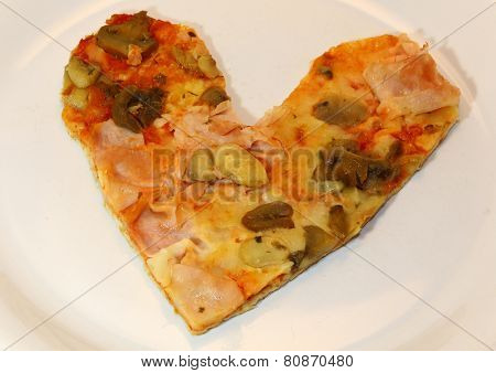 Heart-shaped Pizza With Tomato Mushrooms