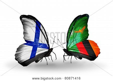 Two Butterflies With Flags On Wings As Symbol Of Relations Finland And Zambia