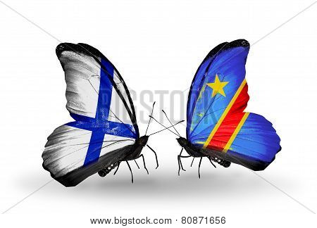 Two Butterflies With Flags On Wings As Symbol Of Relations Finland And Kongo