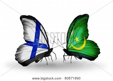 Two Butterflies With Flags On Wings As Symbol Of Relations Finland And Mauritania