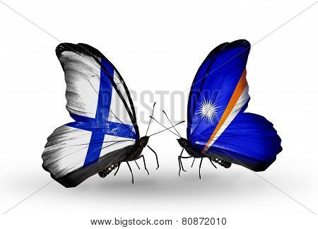 Two Butterflies With Flags On Wings As Symbol Of Relations Finland And Marshall Islands