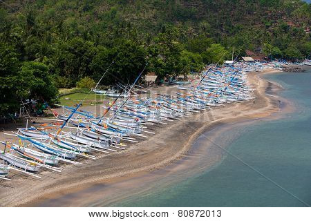 Traditional Wooden Boats On A Deserted Beach Near Amed In North Bali, Indonesia