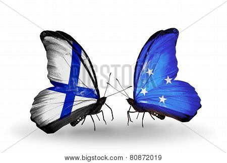Two Butterflies With Flags On Wings As Symbol Of Relations Finland And Micronesia