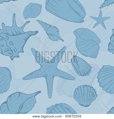 Seamless pattern of hand drawn seashells. Vector illustration