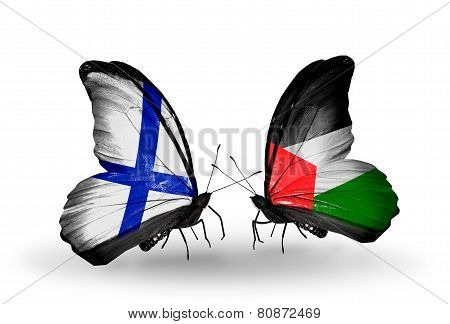 Two Butterflies With Flags On Wings As Symbol Of Relations Finland And Palestine