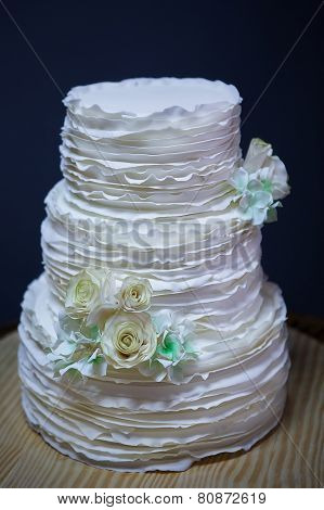 White Wedding Cake On Table
