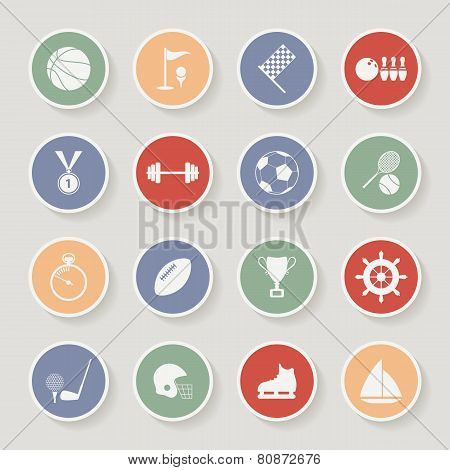 Round Sports Icons. Vector Illustration