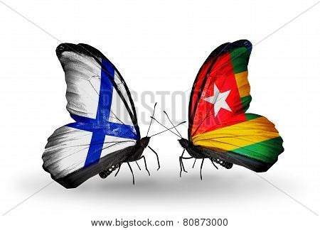 Two Butterflies With Flags On Wings As Symbol Of Relations Finland And Togo