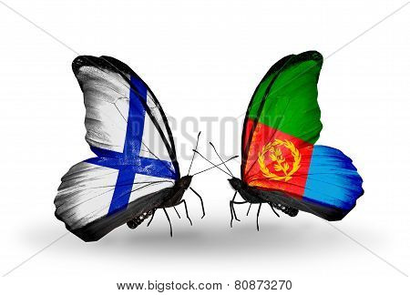 Two Butterflies With Flags On Wings As Symbol Of Relations Finland And Eritrea