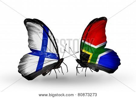 Two Butterflies With Flags On Wings As Symbol Of Relations Finland And South Africa