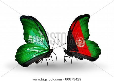 Two Butterflies With Flags On Wings As Symbol Of Relations Saudi Arabia And Afghanistan