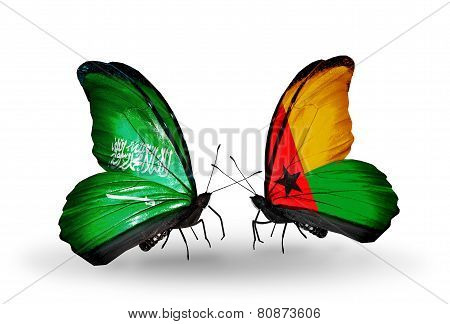 Two Butterflies With Flags On Wings As Symbol Of Relations Saudi Arabia And Guinea Bissau