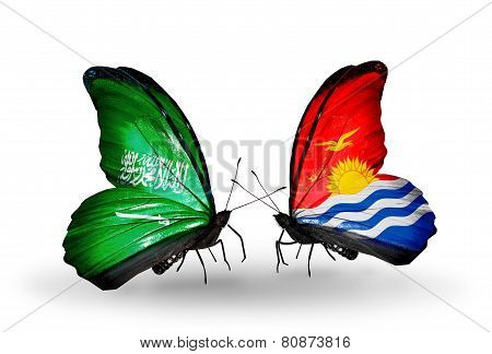 Two Butterflies With Flags On Wings As Symbol Of Relations Saudi Arabia And Kiribati