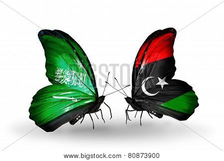 Two Butterflies With Flags On Wings As Symbol Of Relations Saudi Arabia And Libya