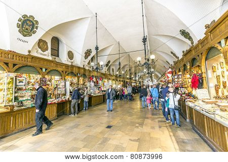 Passage With Artistic Craft Souvenir Stalls Of The Gothic Cloth Hall Sukiennice On The Main Market S