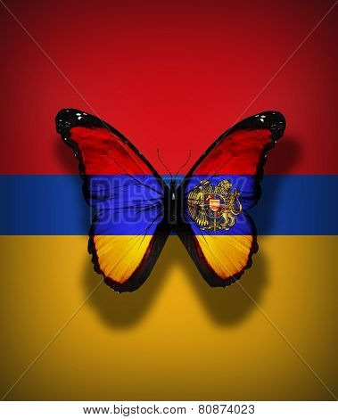 Armenian Flag Butterfly With Coat Of Arms, Isolated On Flag Background