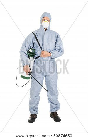 Pest Control Worker With Pesticides Sprayer