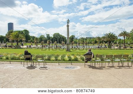 The Luxembourg Palace In The Jardin Du Luxembourg Or Luxembourg Gardens In Paris, France.