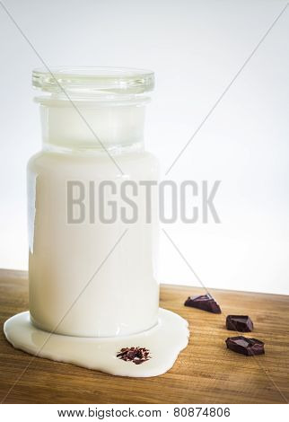 Milk and chocolate on the table