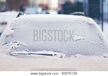 Frozen Back Window Car In The Snow