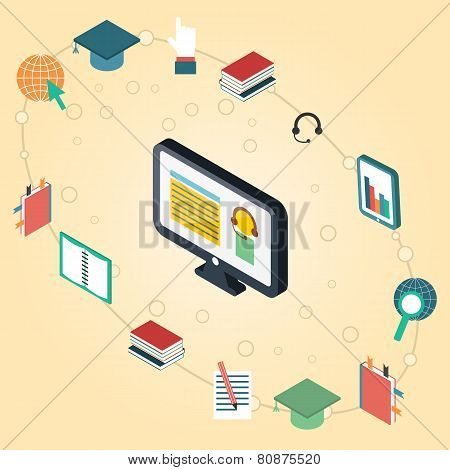 Vector illustration on e-learning theme