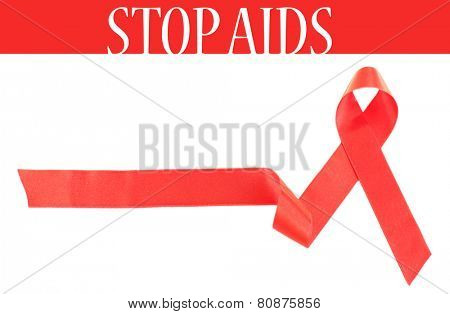 Red AIDS ribbon isolated on white
