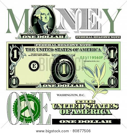 one dollar bill elements