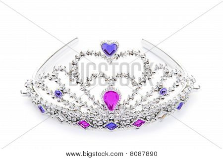 Silver Diadem Isolated On The White Background