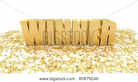 Winner With Stars On White Background - High Quality 3D Render