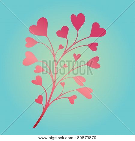 Composition Branch With Hearts