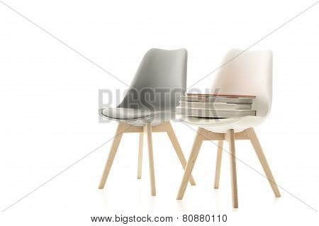 A Matching Grey And White Modern Chair