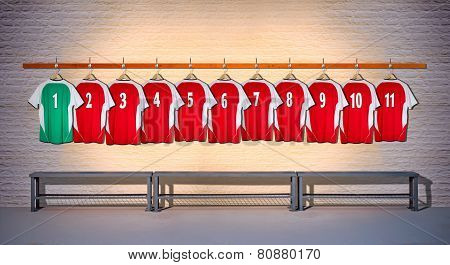 Row of Red and Green Football Shirts 1-11