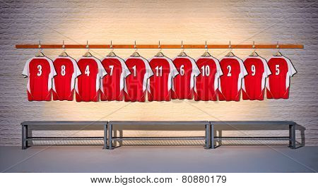 Row of Red  Football Shirts 3-5