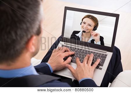 Businessman Video Chatting