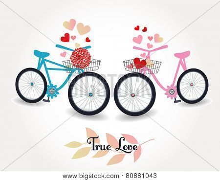 Two bicycles one with flowers in the basket