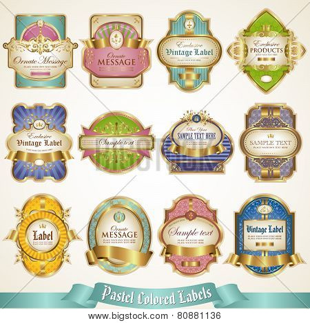 Gold framed labels in pastel colors