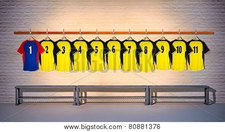 Row of Football Yellow and Blue Shirts 1-11