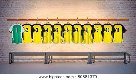 Row of Football Yellow and Green Shirts 1-11