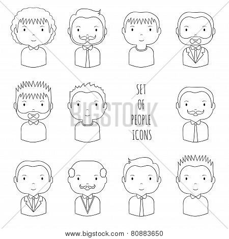 Set of line male faces icons. Funny cartoon hand drawn faces
