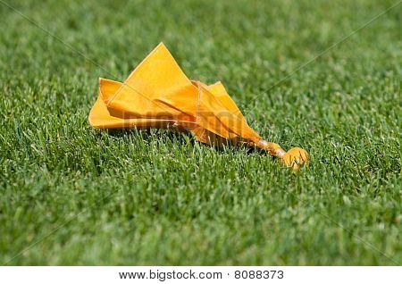 Yellow Penalty Flag On Green Grass