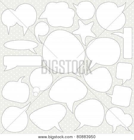 Set Of White  Bubbles Speech