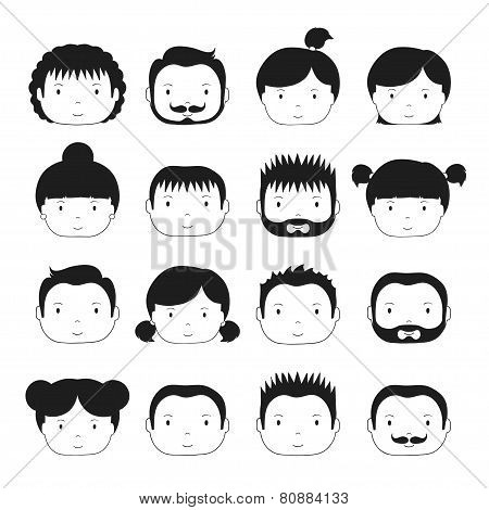 Set of monochrome silhouette office people icons.